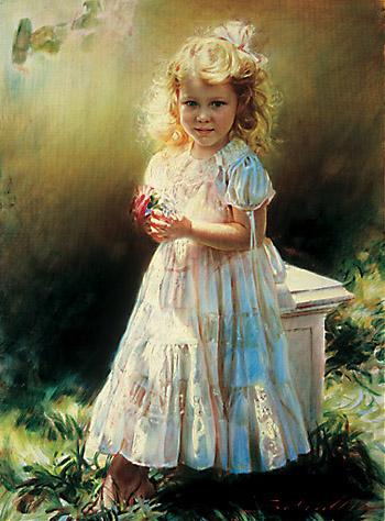 Robert Schoeller Painting: Little Girl Portrait Little Girl Portrait 122