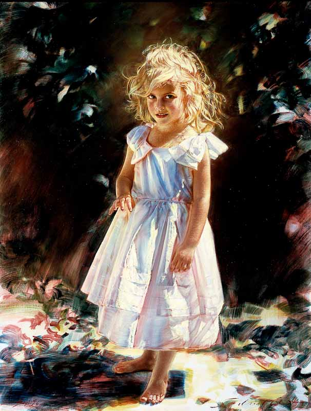 Robert Schoeller Painting: Little Girl Portrait Little Girl Portrait 124